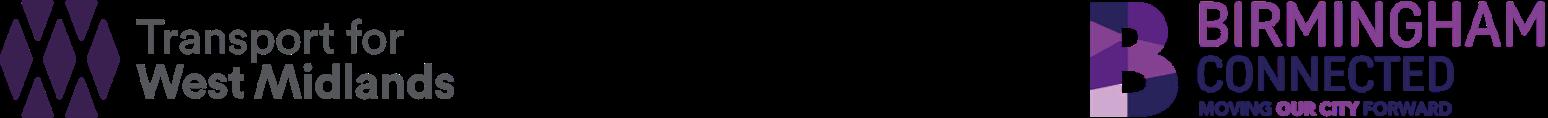Logos: Transport for West Midlands, Birmingham City Council, Birmingham Connected
